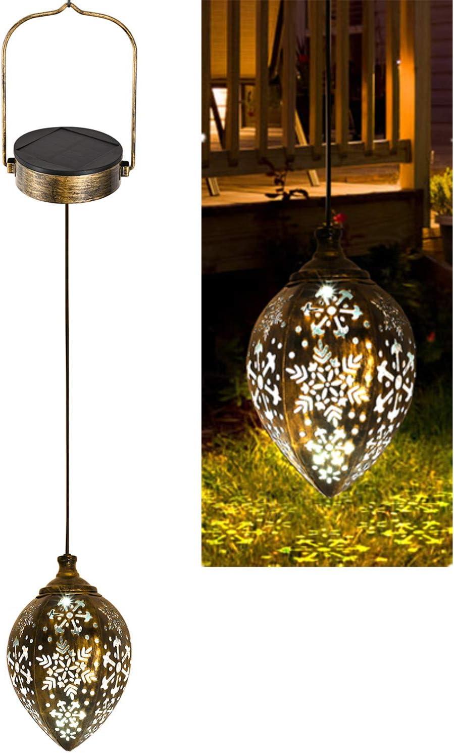 Sunklly Hanging Solar Lights Outdoor Metal Solar Lanterns Hanging Lanterns Garden Decorative Lights for Parch Hanging Solar Lamp for Lawn Pathway Backyard (1 Pack)