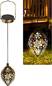 Sunklly Hanging Solar Lights Outdoor Metal Solar Lanterns Hanging Lanterns Garden Decorative Lights for Parch Hanging Solar Lamp for Lawn Pathway Backyard (1 Pack)