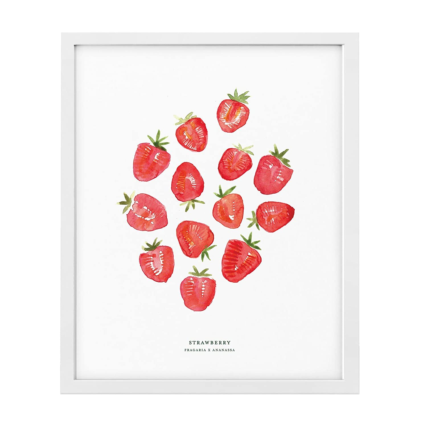 Strawberry Fruit Kitchen Home Decor Watercolour 11x14