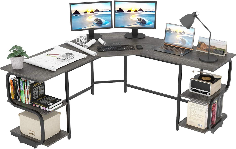 Teraves Modern L Shaped Desk with Shelves,Computer Desk/Gaming Desk for Home Office,Corner Desk with Large Desktop