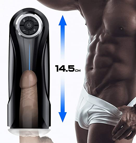 Male Masturbator Cup Electric Adult Sex Toys for Men with 5 Powerful Thrusting Modes and 3D Realistic Vagina Pussy Stroker Masturbation Male Vibrator, 6 Speeds Control 3 Female Sexy Moans