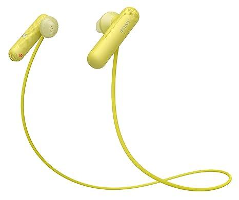 Sony WI-SP500Y - Auriculares Deportivos inalámbricos (con Bluetooth, Color Amarillo)