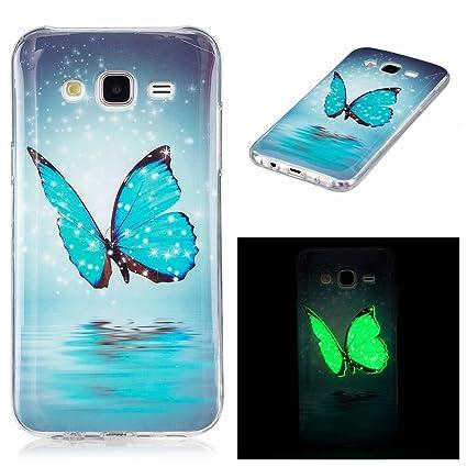 XiaoXiMi Funda Luminosa para Samsung Galaxy J5 2015 SM-J500F Carcasa de Silicona Caucho Soft TPU Silicone Case Cover Carcasa Protectora Funda Blanda ...