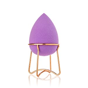 Almost Famous Beauty Blender Makeup Sponge With Rose Gold Beauty Blender Holder, Purple