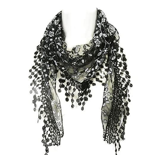 377b28769e3ca Wrapables Embroidered Floral Lace Triangle Scarf- Black at Amazon ...