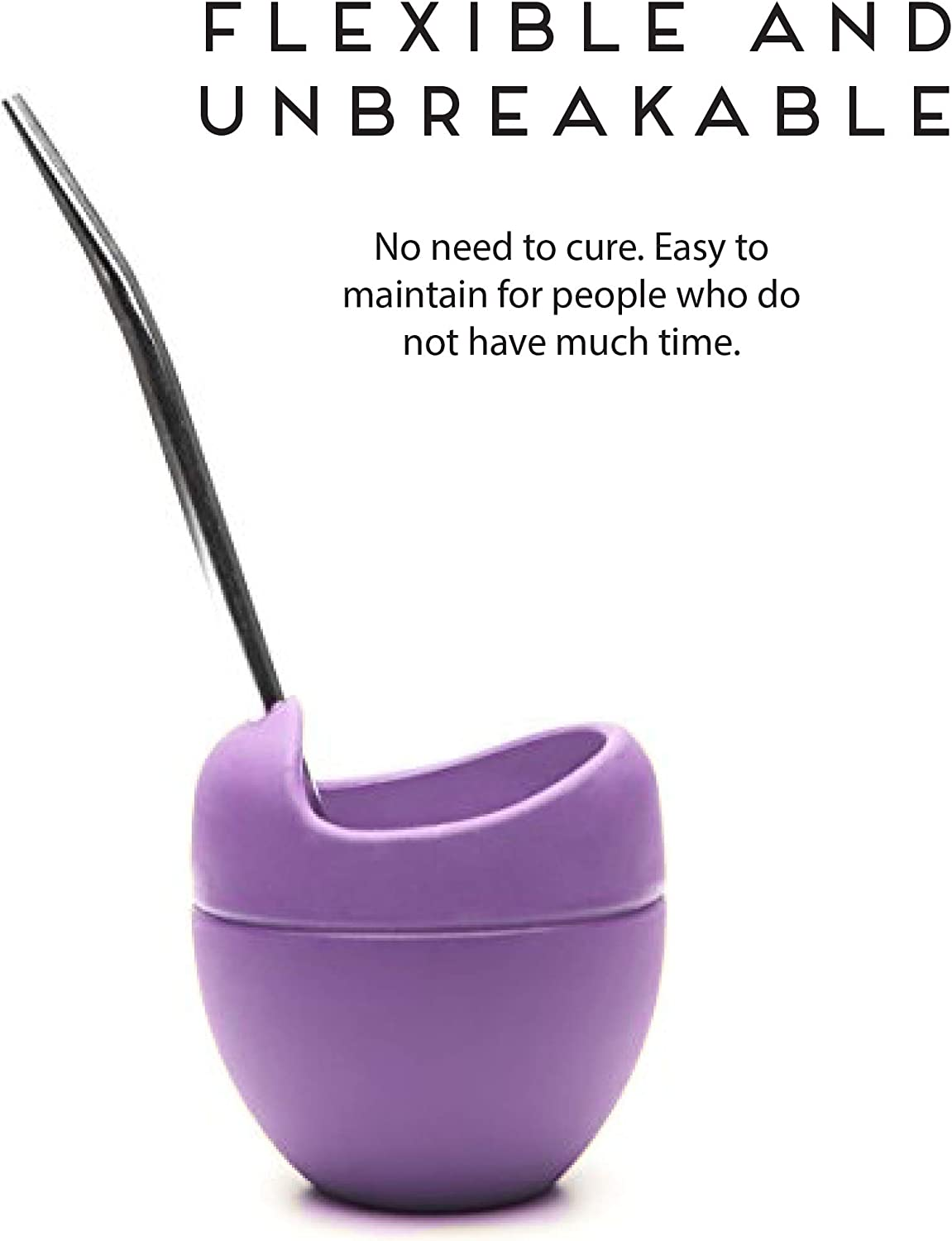 Yerba Mate straw mate cup - Unbreakable ideal for home with Bombilla made of Silicone work or travel Mate drinking BPA-Free PINK Balibetov Modern Yerba Mate Gourd