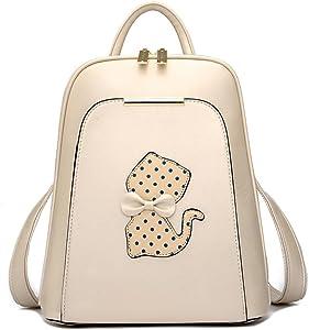 Backpack Women Black Back Pack School Bags Teenage Girls Gold Pu Cat Beige