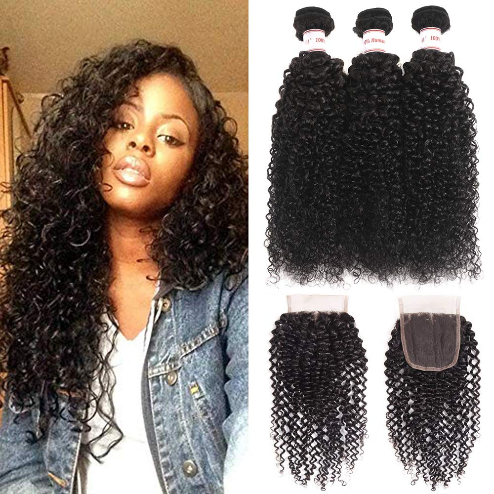 a7ce053f3 Amazon.com : Brazilian Kinky Curly Virgin Hair 3 Bundles With Free Part  Closure 100% Unprocessed Brazilian Curly Human Hair Weave With Lace Closure  350g/lot ...