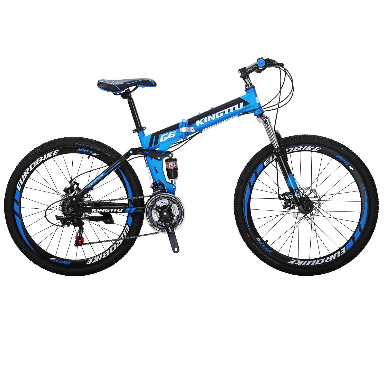 KINGTTU マウンテンバイ G6-2621S フルサスペンション MTB前後ディスクブレーキ器 変速21速 折りたたみ自転車 B0798H6DZV 藍 藍