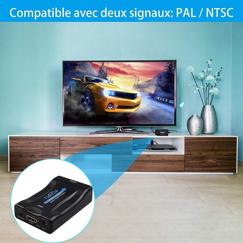 Adaptador HDMI a Scart, convertidor HDMI a Scart Compatible con NTSC PAL HDMI1.3 para Sky HD BLU Ray PS3 TV VCR VHS: Amazon.es: Electrónica