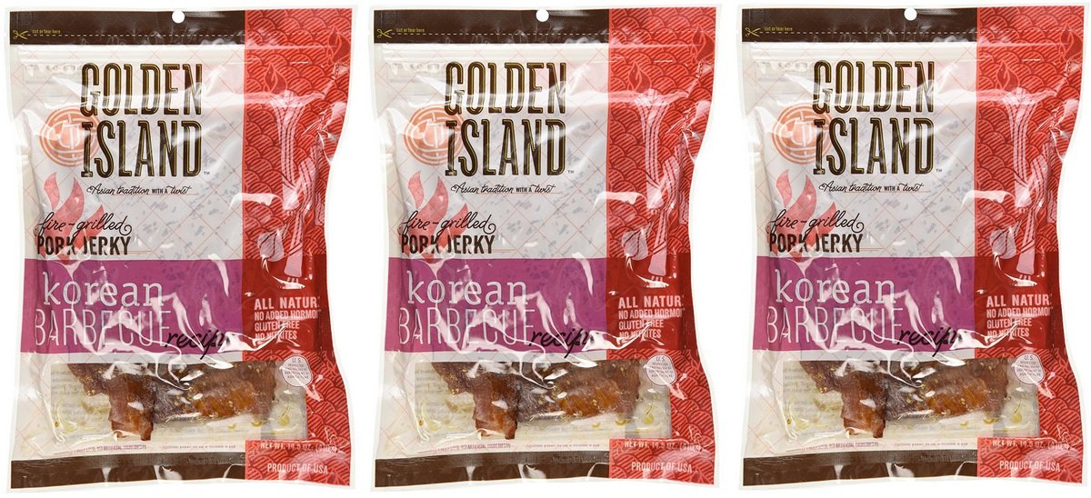 Golden Island Natural Style Pork Jerky, Korean Barbecue Recipe, 14.5oz (Pack of 3) by Golden Island (Image #1)