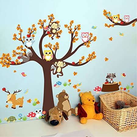 DIY Baby Nursery Wall Stickers Owls Monkeys Animals Theme Removable Vinyl  Wall Art Tree Jungle Sticker