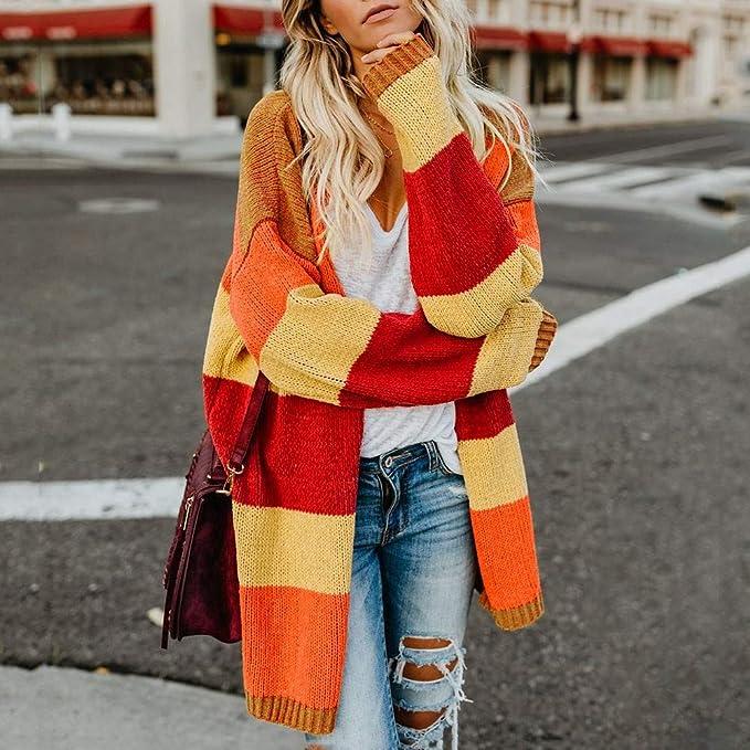 ManxiVoo Women's Color Blocking Open Front Sweater Cardigan