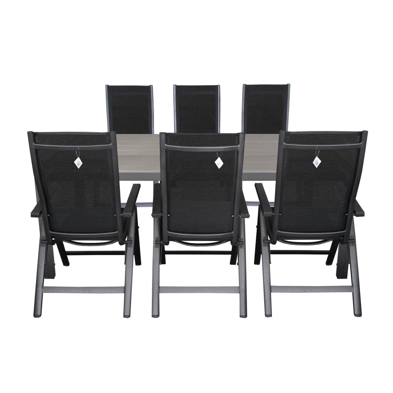 7tlg. Sitzgarnitur Aluminium Polywood Gartentisch 205x90cm Alu Hochlehner 4x4 Textilenbespannung Rückenlehne in 6-Positionen verstellbar Terrassenmöbel Gartengarnitur Sitzgruppe
