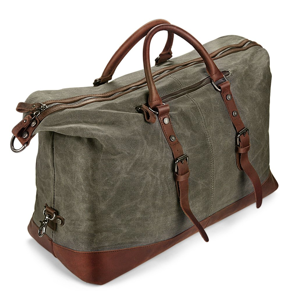 H-ANDYBAG Weekender Overnight Bag Oversized New Waxed Pure Cotton Canvas Waterproof Travel Duffel Bag (Army Green)