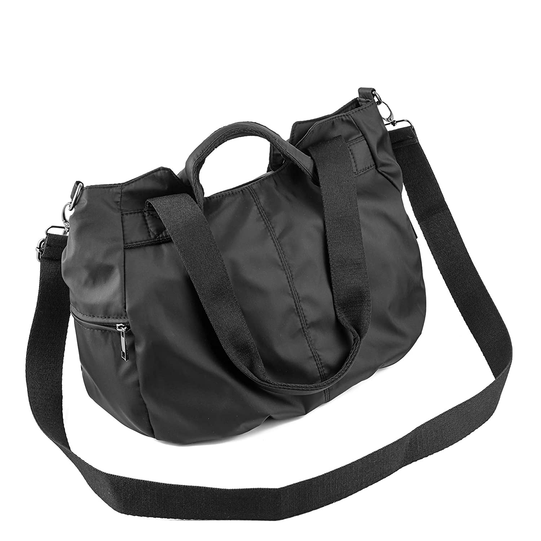 8e5f22bd0105 Amazon.com  ZOOEASS Women Fashion Large Tote Shoulder Handbag Waterproof  Multi-function Nylon Travel Crossbody Bags (Black)  Shoes