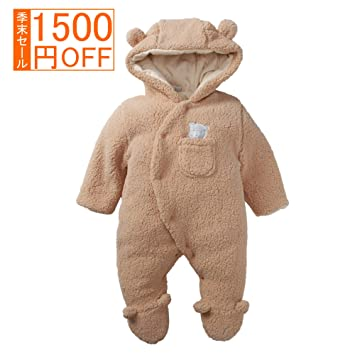 07b44fe7bf057 iCasso ふわふわ ベビー服 カバーオール 赤ちゃん 着ぐるみ 足つき 暖かい コート 秋冬 防寒・保温 女の子 男の子 出産