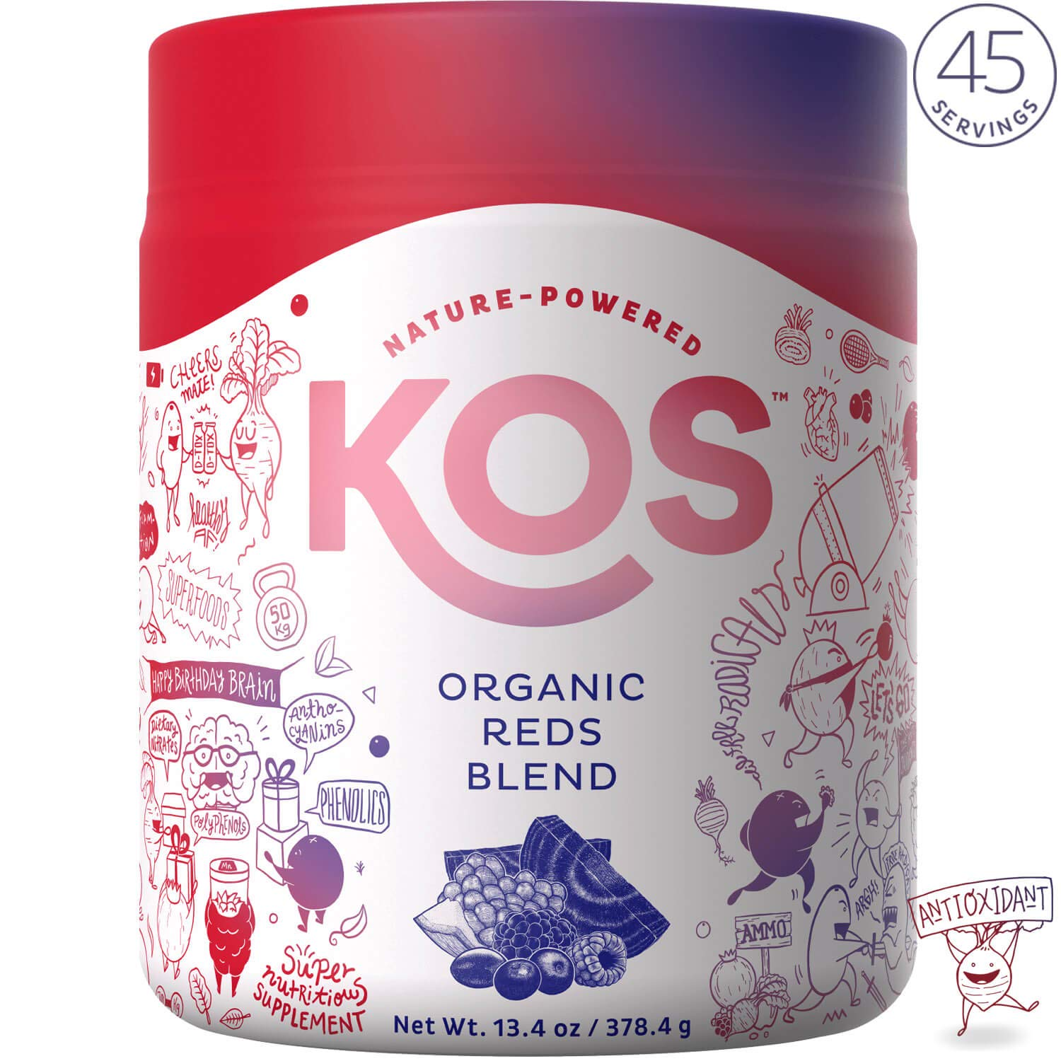 KOS Organic Reds Blend Supplement - Superfood Antioxidant Powder - Natural Plant-Based, Delicious Vegan Juice Drink - Digestive Enzymes, Beet Root, Goji Berries - Daily Energy Booster - 45 Servings by KOS