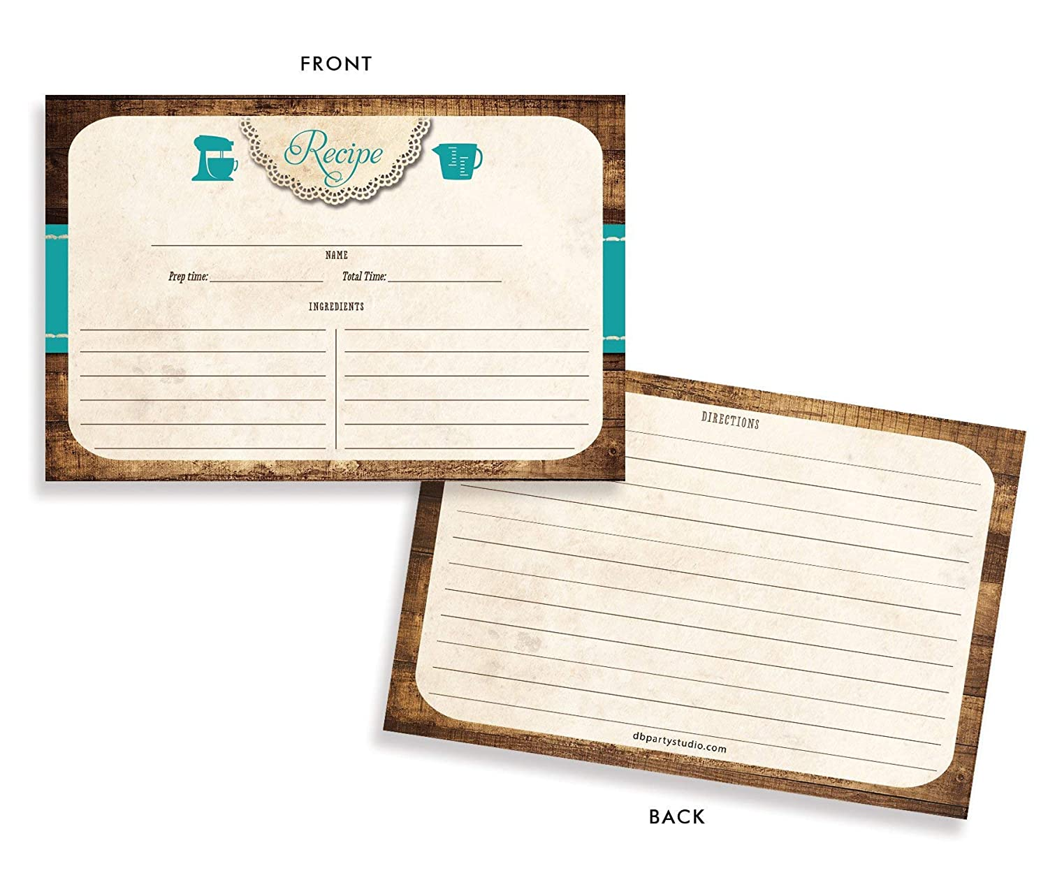 Lace Rustic Recipe Cards Tracey Teal Set of 25 Double Sided Card Stock Recipe Card Set 4x6 inches