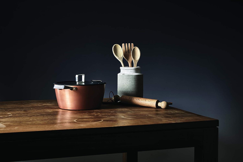 Acero Sart/én para todo tipo de cocinas incluida inducci/ón 20 cm Moneta Rosegold Diamant