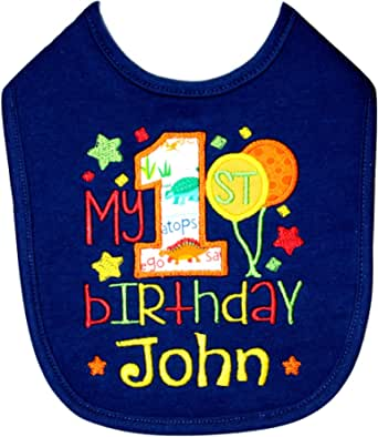 Bib boy personalized colors first name Leon reversible birth gift birth gift first birthday bib tie custom