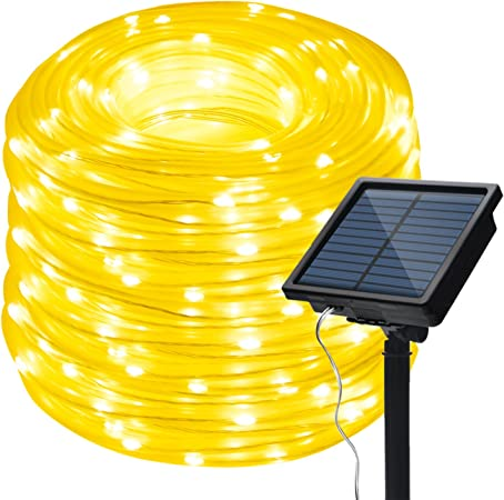 IMAGE 8 Modes Solar String Lights 10 Meter//32 Feet 100LED Solar Small Rope String Light 100LED 2400mah High Capacity Battery Starry Fairy Lights for Indoor Outdoor Decorations Garden Patio Party Multi-Color