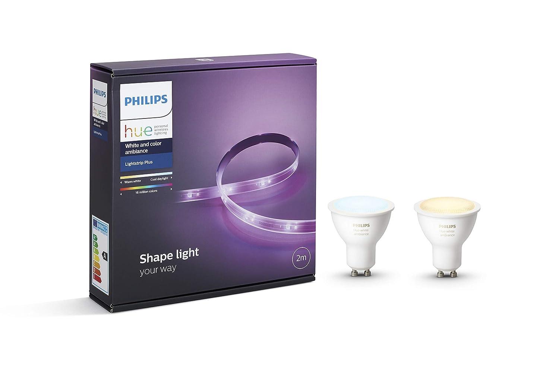 Philips Hue White Ambiance - Pack de 2 bombillas LED GU10 + Lightstrip Plus tira LED de 2 metros con enchufe, iluminación inteligente, luz blanca cálida y ...