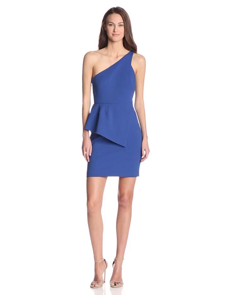 HALSTON HERITAGE Women's Crepe One-Shoulder Asymmetrical Peplum Dress, Cobalt, 6