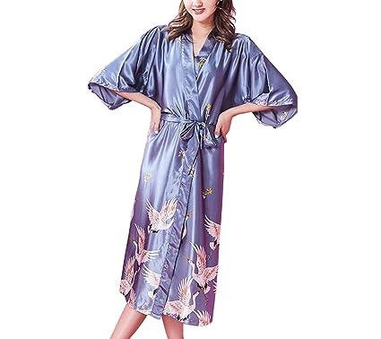 Frauen Sommer Kimono Sexy Nachthemd Damen Leichte Lose Lange ...
