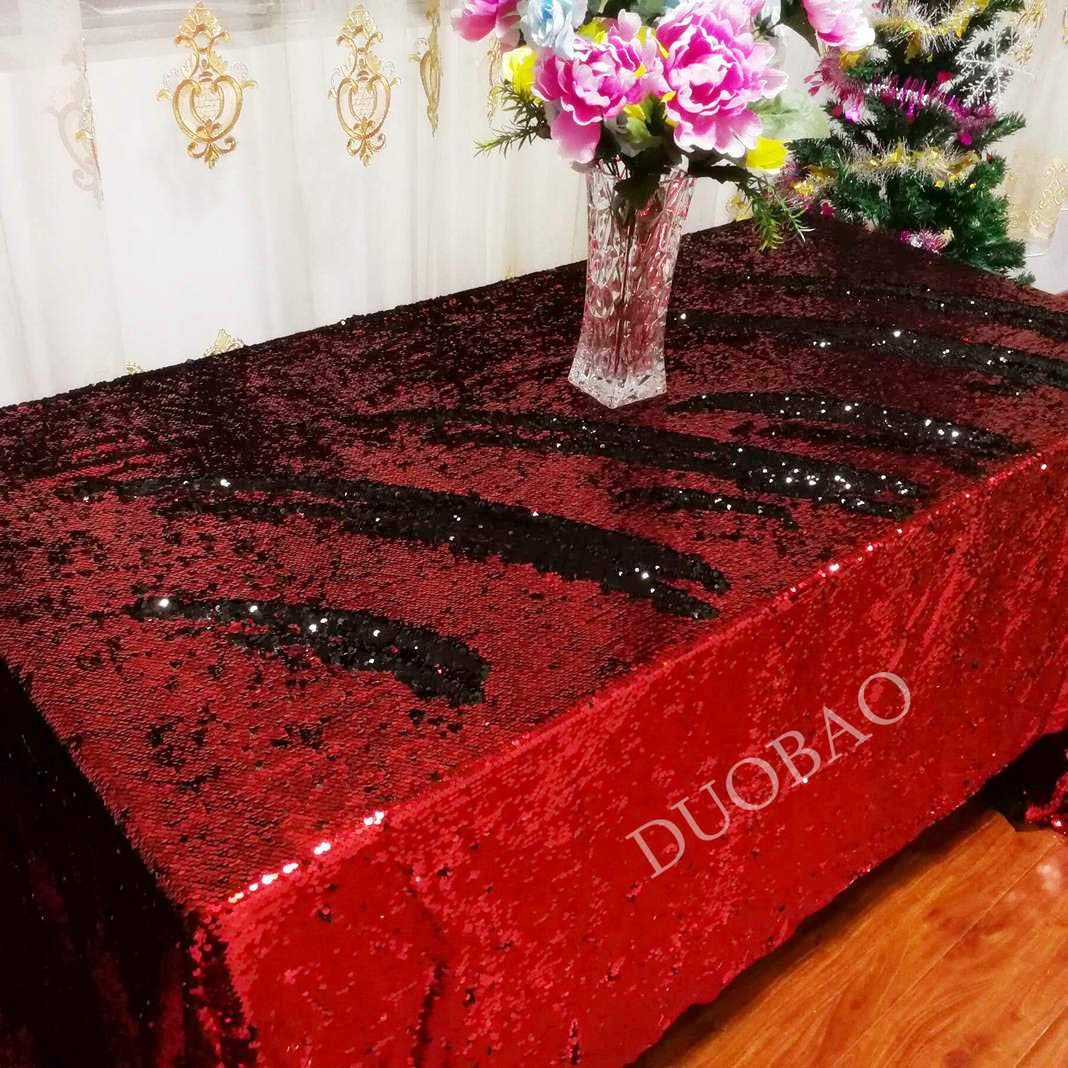 DUOBAO Sequin Tablecloth 60x84-Inch Black Mermaid Sequin Fabric Red to Black Glitter Tablecloth Reversible tablecloths for Rectangle Tables~0516 by DUOBAO (Image #1)