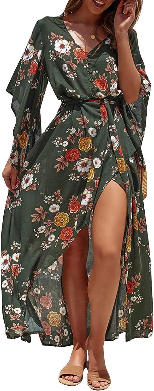 Miessial Women's Boho V Neck Floral Chiffon Dress Backless Beach Split Maxi Dress with Belt