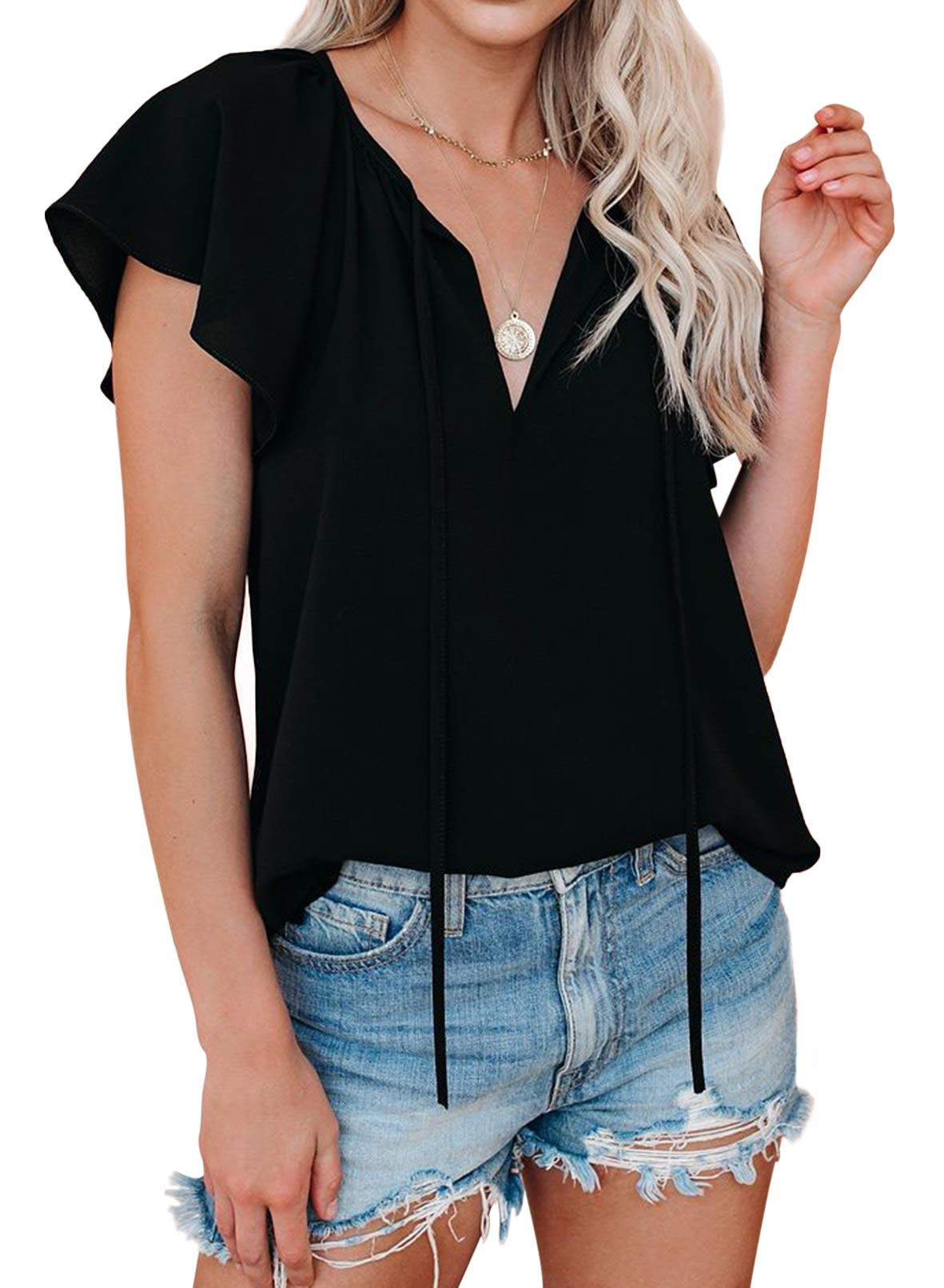 FARYSAYS Womens Summer Basic Short Sleeve Crew Neck T Shirt Casual Tops
