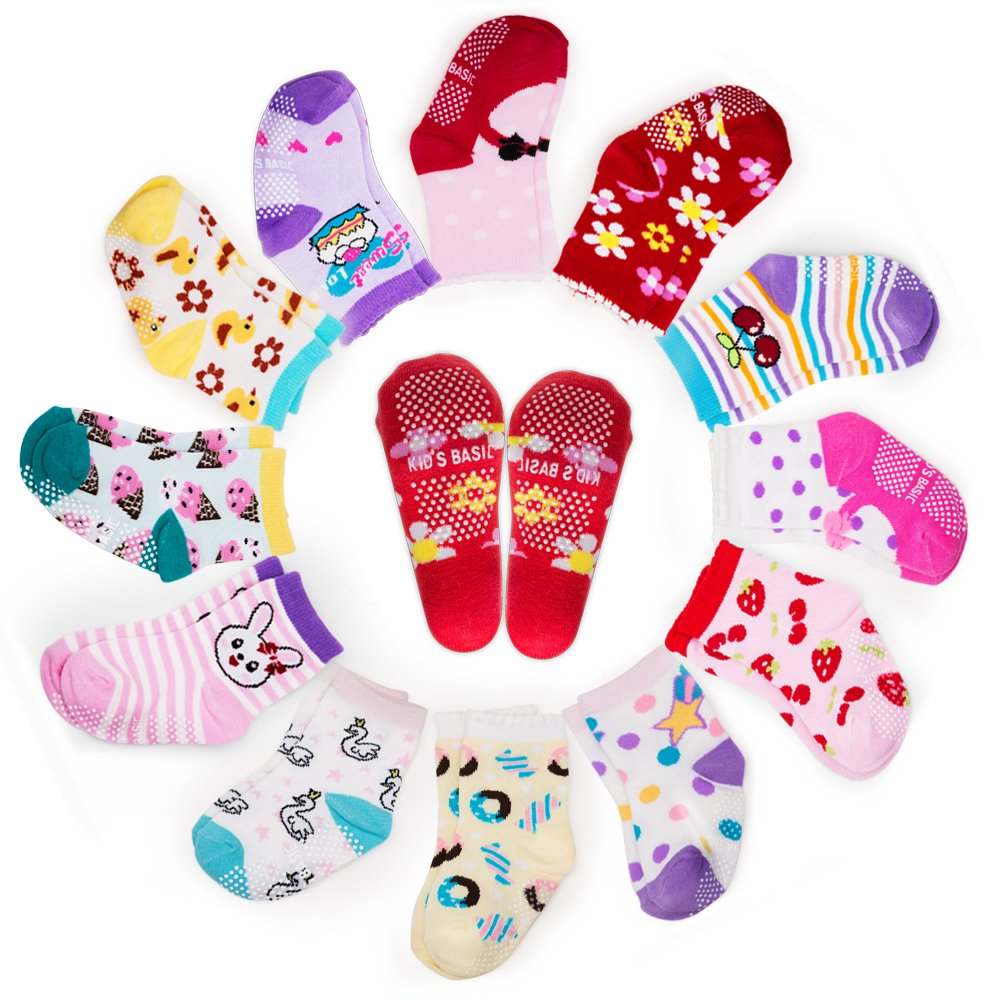 Yimaler 12-Pack Anti-slip Soft Cotton Colorful Socks for Baby Kid for 12-36 Months Cute Cartoon Printed Baby Boys Girls Toddlers Non-skid Socks for Size 3.5''-4.7''