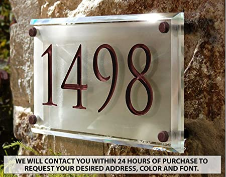 Amazon Com Crystal Address Plaque With Engraved Numbers Unique And Elegant Address Sign Garden Outdoor