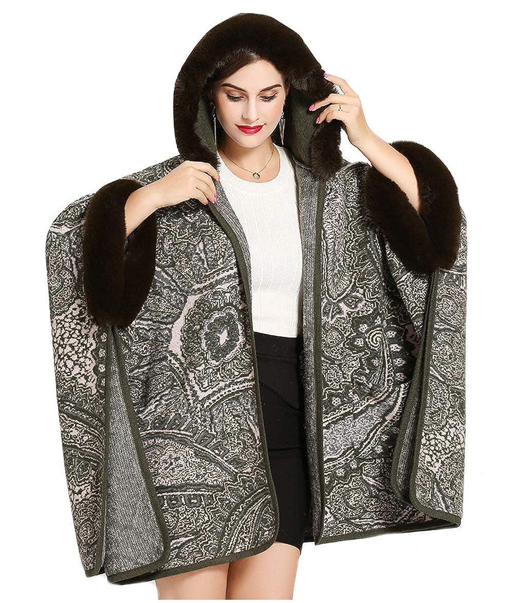 Dark Green ALSKEN Women Faux Fur Poncho Winter Coat Shawl Cardigan Cloak Prom Shoulder Cape