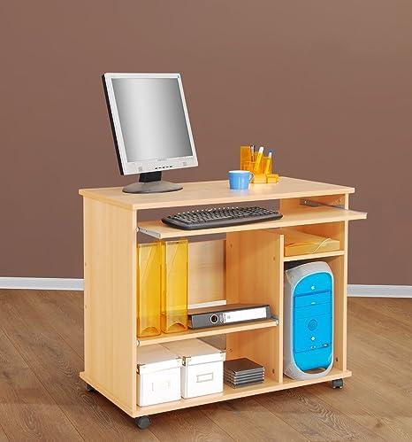 PC-mesa escritorio - ruedas - madera de haya: Amazon.es: Hogar