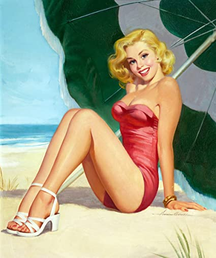 Amazon.com: Pin-Up Girl Wall Decal Poster Sticker - At the Beach ...