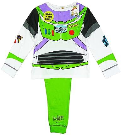 Niño Toy Story Buzz Lightyear Disfraz Pijama brilla en la oscuridad tallas de 18 Meses a 6 Años - algodón, Blanco, 100% officially 100% algodón, De Niño, ...