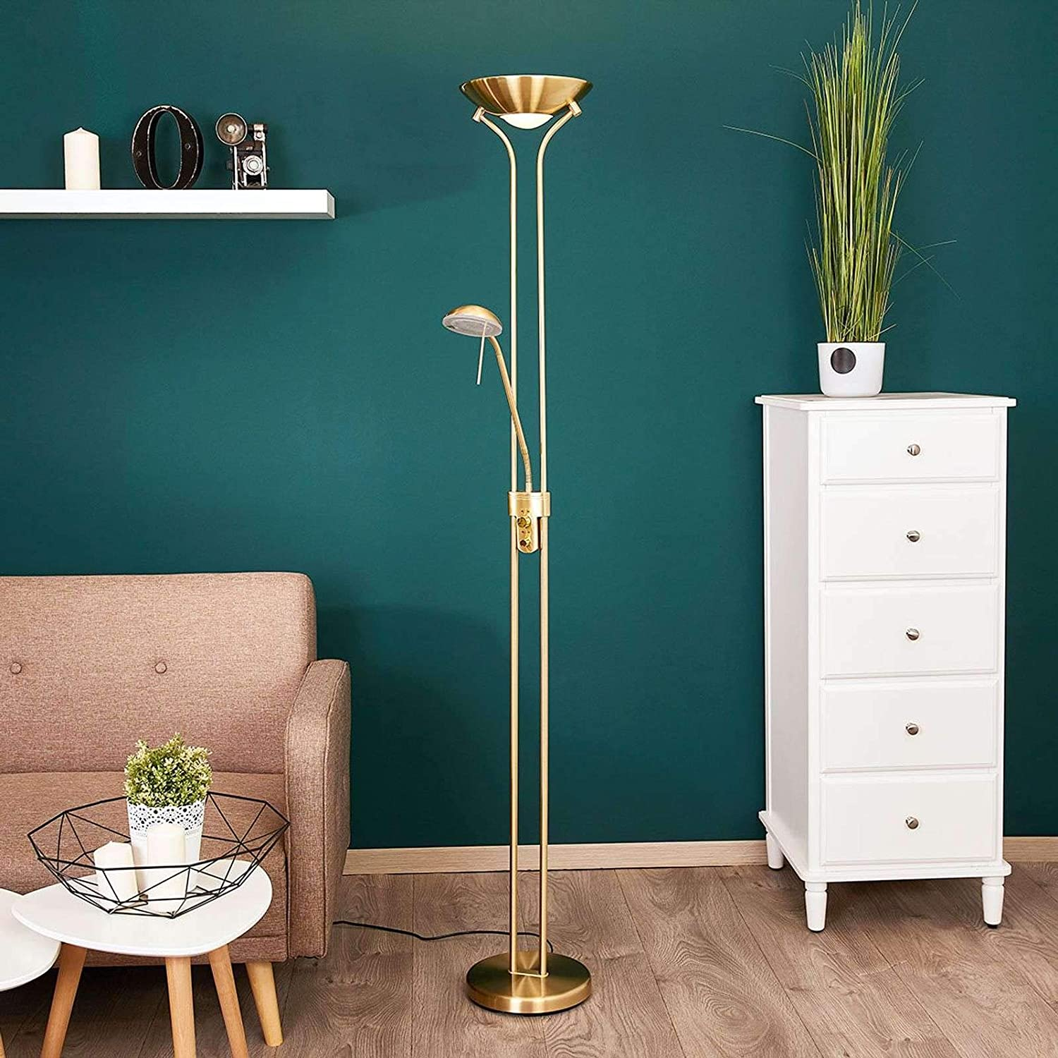 Lindby Led Stehlampe Josefin Dimmbar In Gold Messing Aus Metall