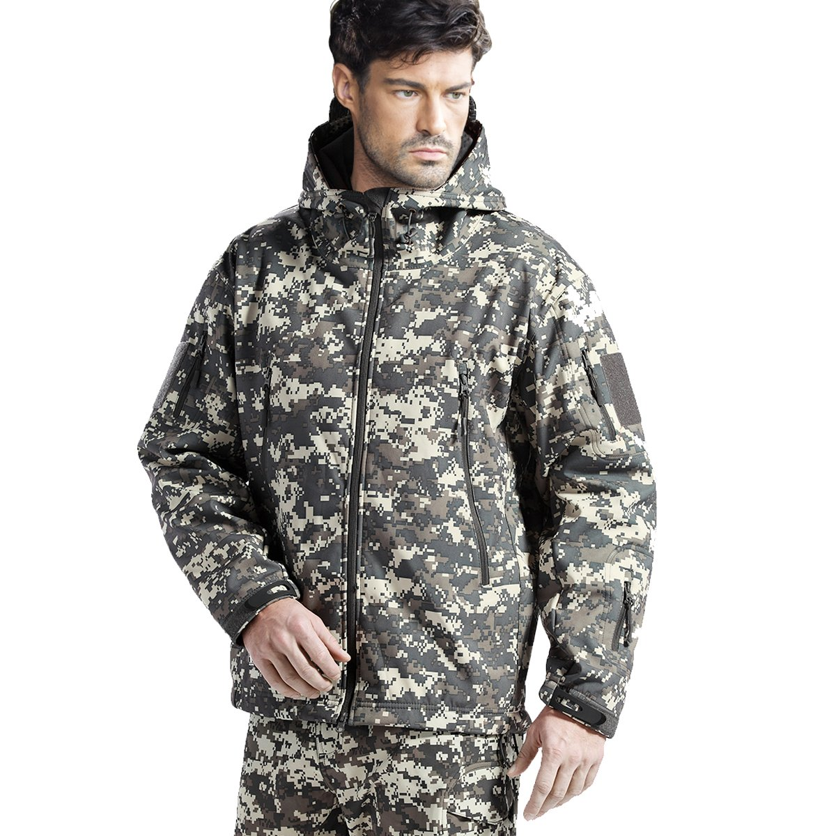 FREE SOLDIER Men's Tactical Jacket Waterproof Army Military Hooded Jacket Softshell Autumn Winter Jacket (ACU Digital M) by FREE SOLDIER