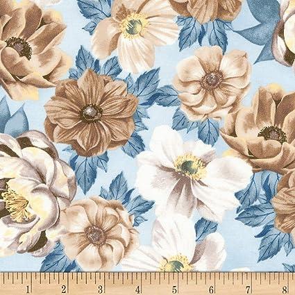 871e527411e Amazon.com: Robert Kaufman 0603344 Kaufman Garden Studies Large Flowers  Dusty Blue Fabric, 1