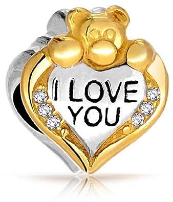 ac52c1dd4 Amazon.com: I Love You Teddy Bear Heart CZ Charm Bead For Women 2 Tone 14K  Gold Plated Sterling Silver Fits European Bracelet: Bead Charms: Jewelry