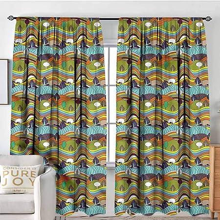 Cortinas opacas para ventana - Pack de 2 paneles, cortinas opacas para dormitorio - Cortinas térmicas aislantes para oscurecer la habitación, juego de 2 paneles de cortina de bolsillo para barra: Amazon.es: Hogar