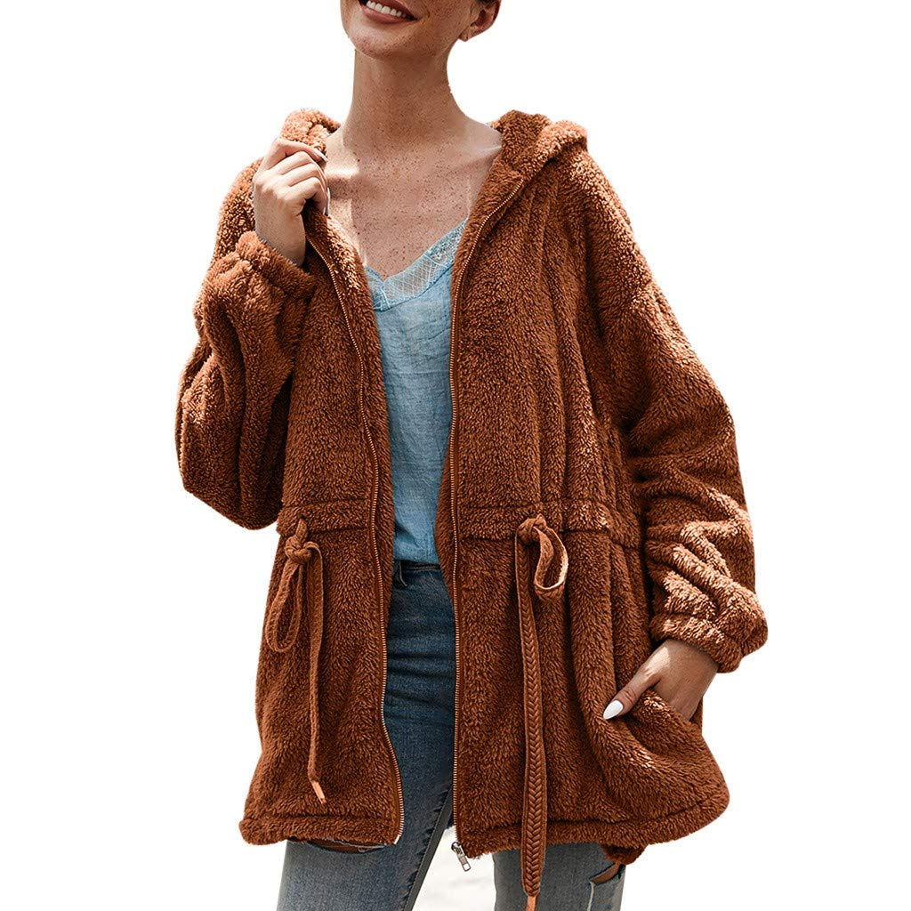 wuliLINL Womens Solid Color Faux Fur Coat Long Sleeve Parka Jacket Outwear Winter Warm Drawstring Cotton Zip Up Hooded Overcoat with Pocket(Brown,S) by wuliLINL