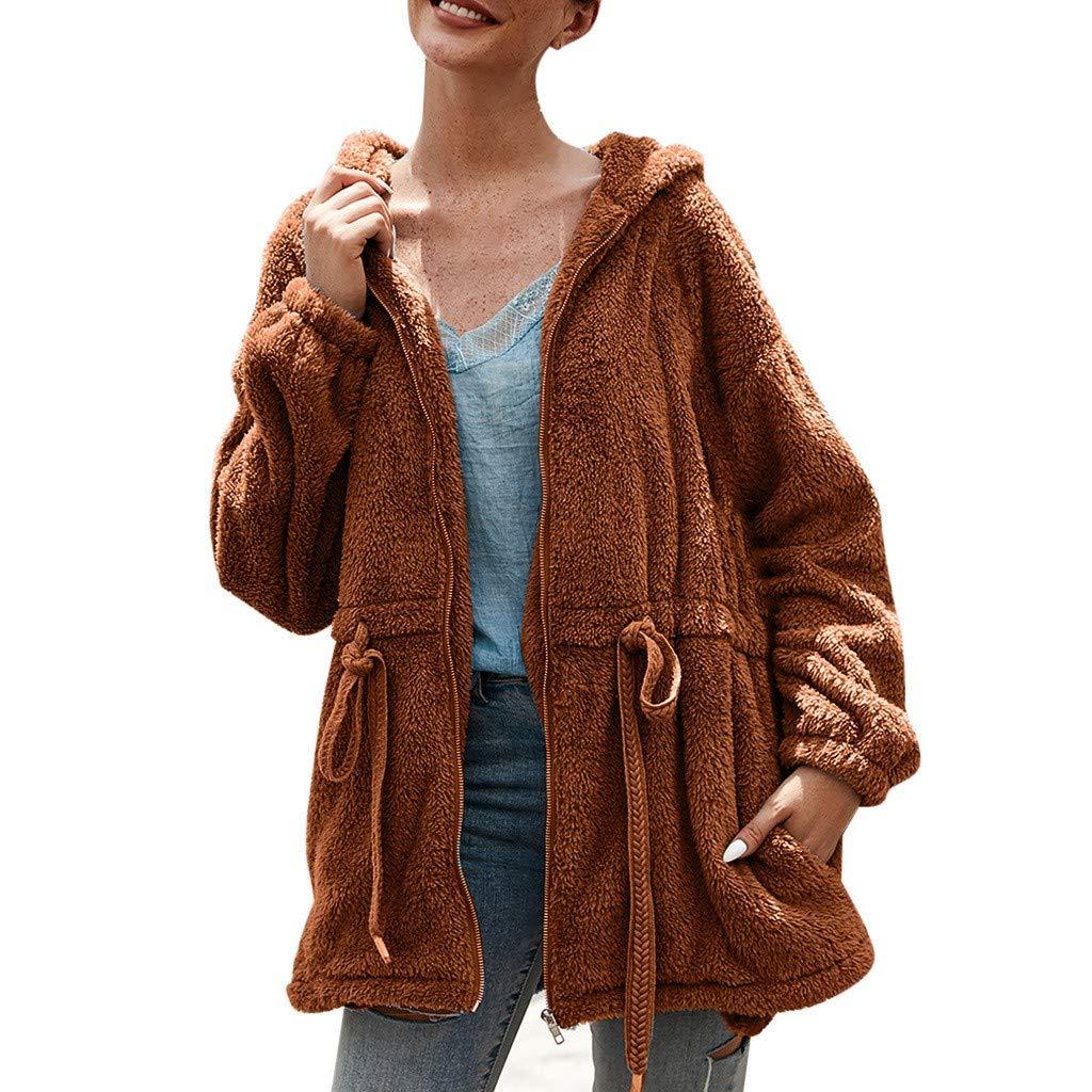 wuliLINL Women's Faux Fur Drawstring Long Jacket Plush Solid Color Warm Zipper Cardigan Coat Outwear(Brown,M) by wuliLINL