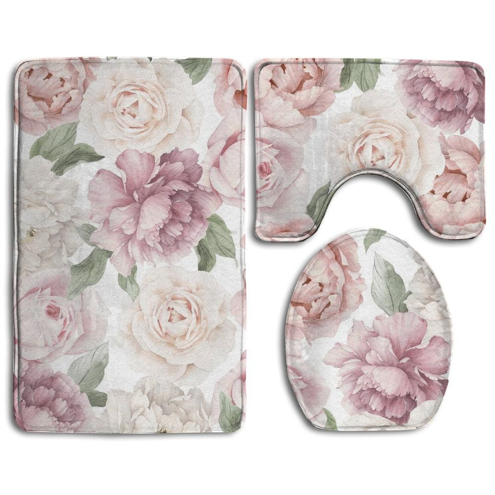 Floral Flower 3 Piece Soft Bathroom Rugs Set Non Slip Easy Care Bath Shower Mat U-shaped Lid Toilet Floor