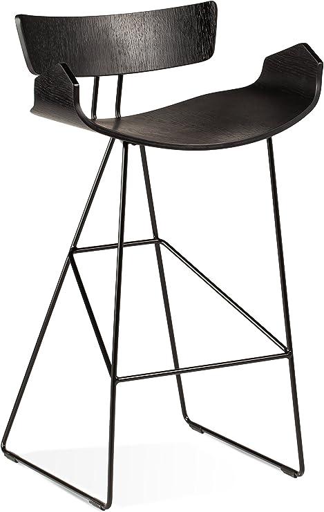 Breakfast Bar // Kitchen Stool Scandinavian Contemporary Retro Styling Black Stackable Lightweight Plastic