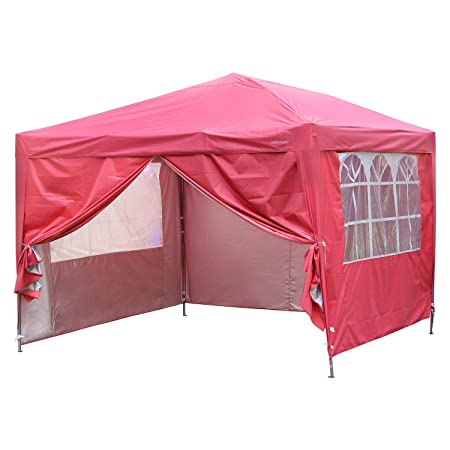 Outdoor Basic 10×10 Pop up Canopy Party Tent Instant Gazebos with 4 Removable Sidewalls Red