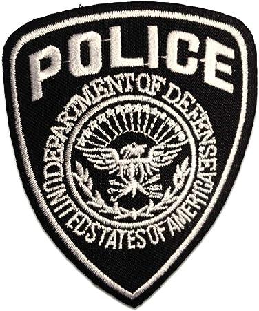 7 x 9 cm Aufnäher // Bügelbild Police Polizei Logo schwarz