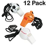 """Plastic Sports Ball Whistles With Lanyard - Pack Of 12 - Whistle Is 2"""", Lanyard Is 24"""", Assorted Sports Balls - For Kids Great Party Favors, Fun, Toy, Gift, Prize For Sports Festivals - By Kidsco"""